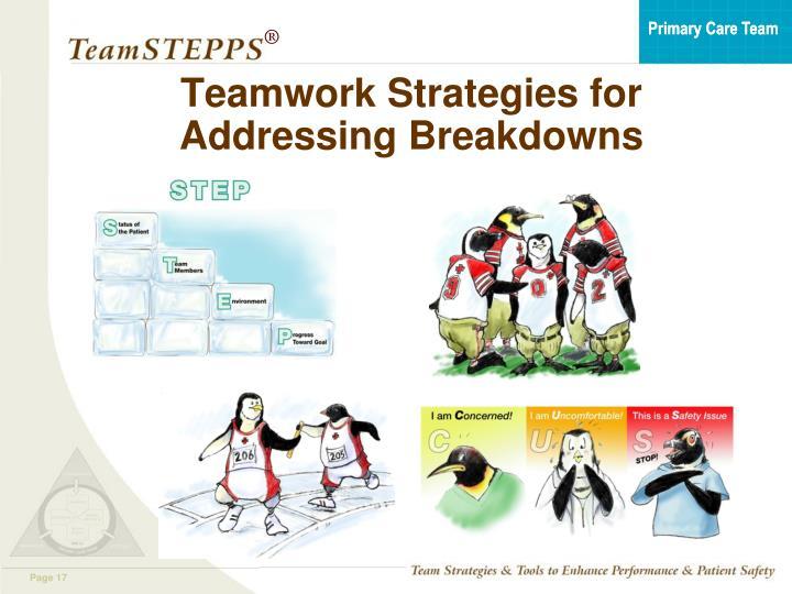 Teamwork Strategies for Addressing Breakdowns