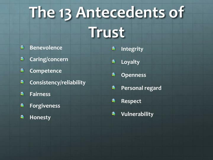 The 13 Antecedents of Trust