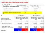 job costing normal costing actual costing