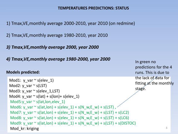 TEMPERATURES PREDICTIONS: STATUS
