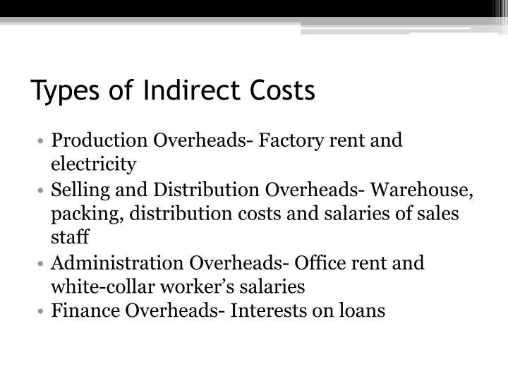 Types of Indirect Costs