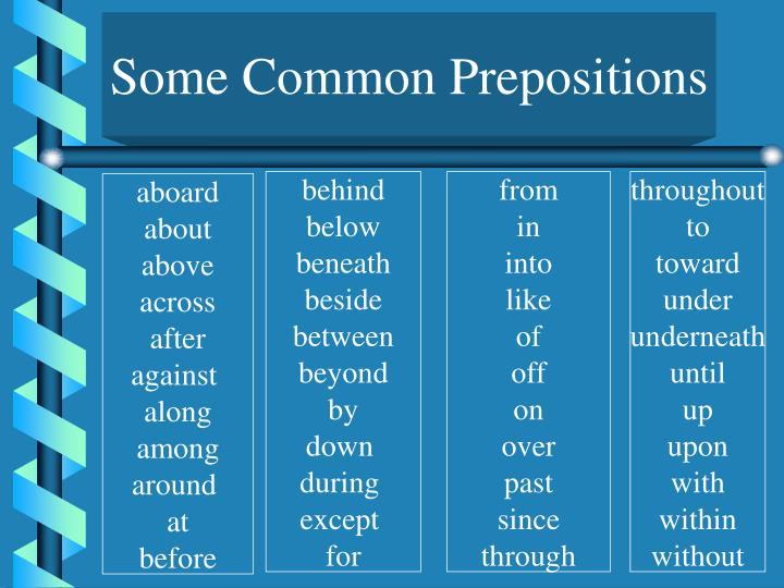 Some Common Prepositions