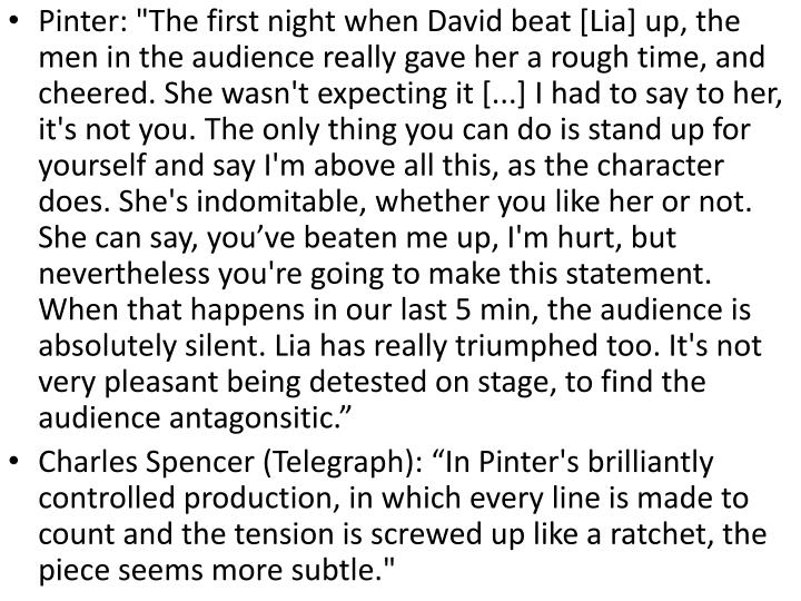 "Pinter: ""The first night when David beat ["