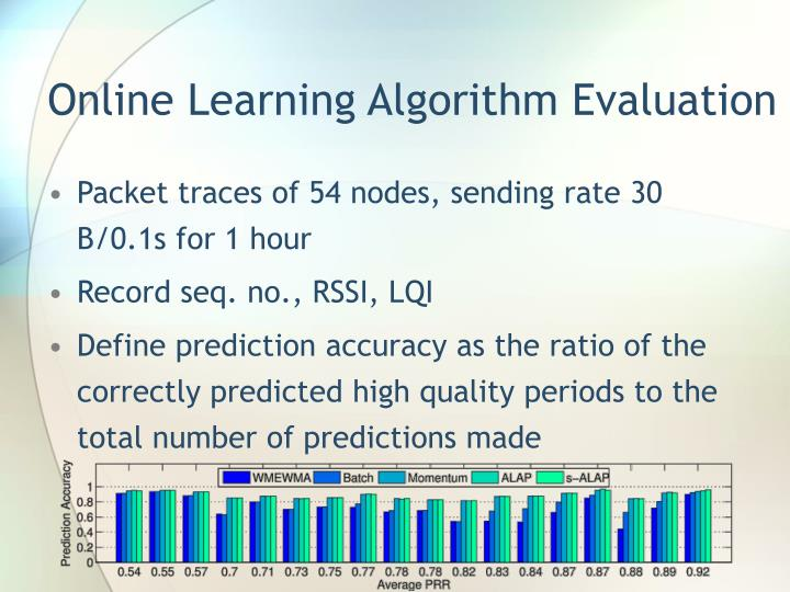 Online Learning Algorithm Evaluation