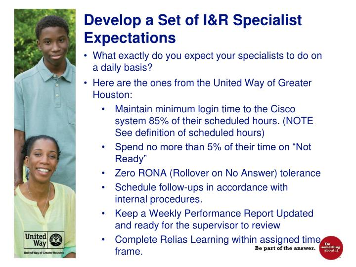 Develop a Set of I&R Specialist Expectations