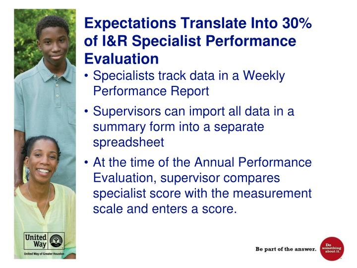 Expectations Translate Into 30% of I&R Specialist Performance Evaluation