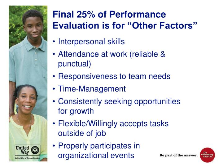 """Final 25% of Performance Evaluation is for """"Other Factors"""""""