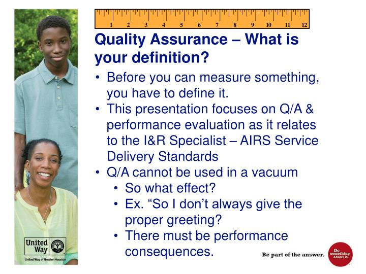 Quality Assurance – What is your definition?