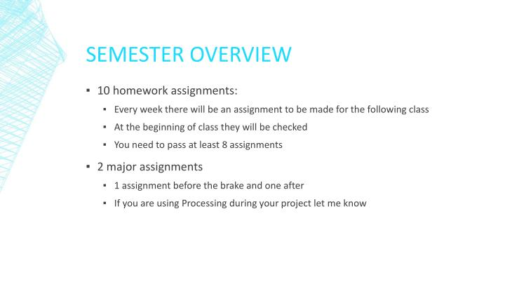 Semester overview