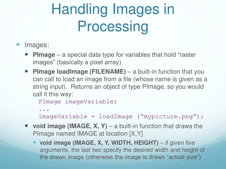 Handling Images in Processing