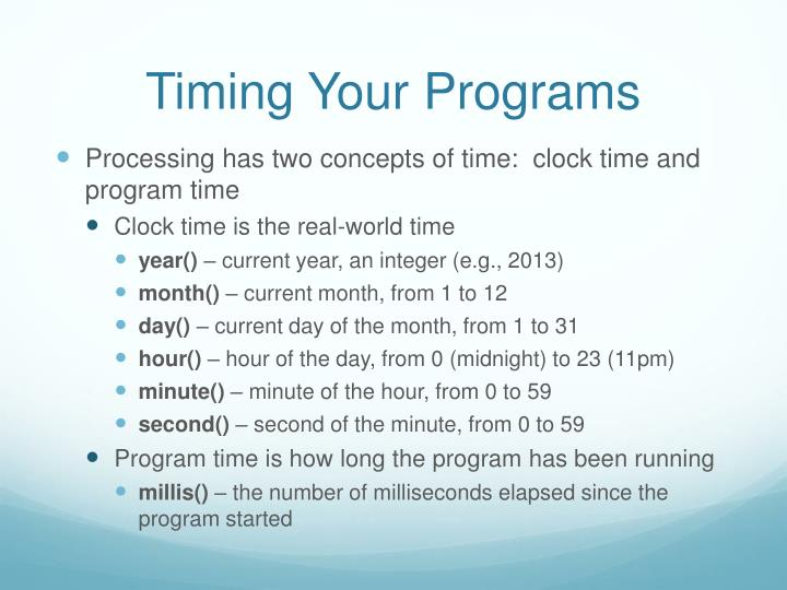 Timing Your Programs