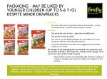 packaging may be liked by younger children up to 5 6 y o despite minor drawbacks