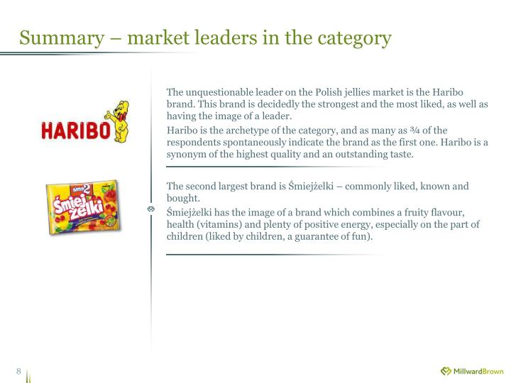 Summary – market leaders in the category