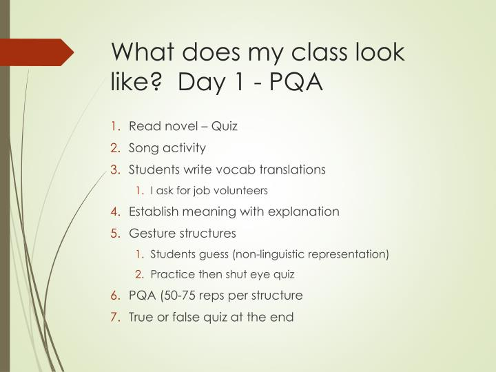 What does my class look like?  Day 1 - PQA