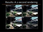 results a 2 second rendering