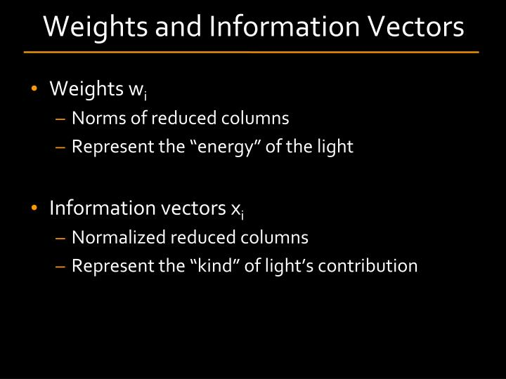 Weights and Information Vectors