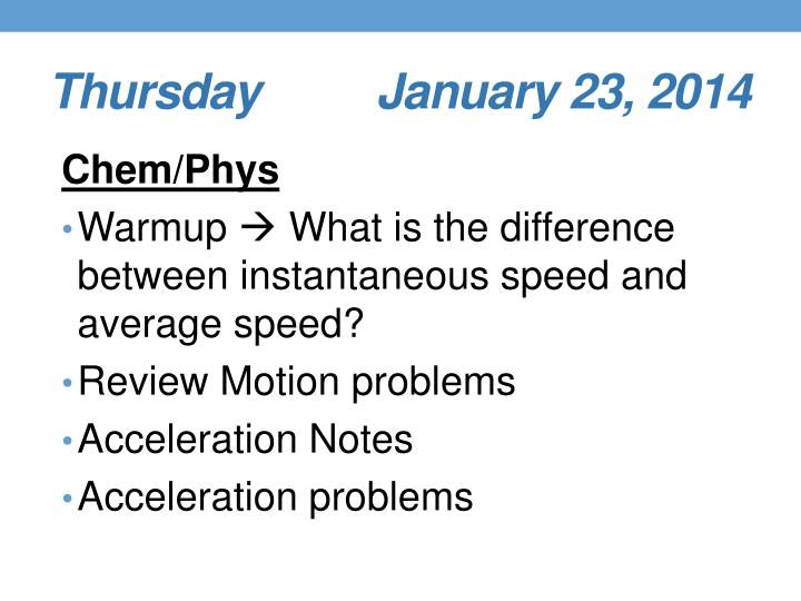 Thursday       January 23, 2014