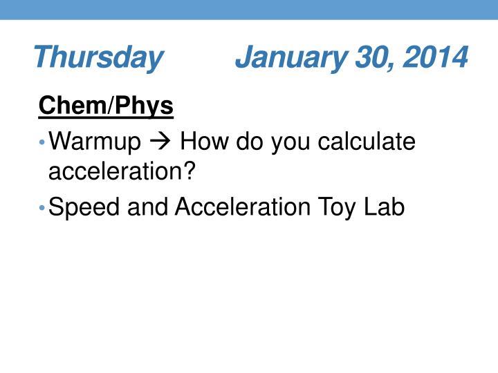Thursday       January 30, 2014