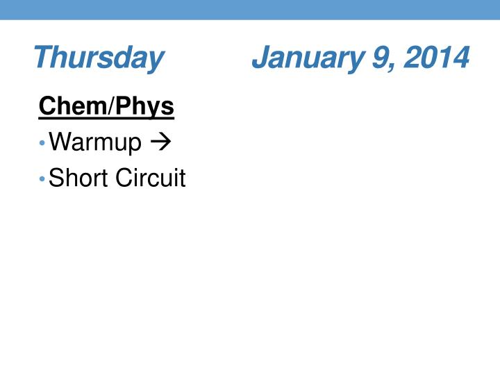 Thursday         January 9, 2014