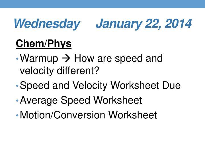 Wednesday     January 22, 2014