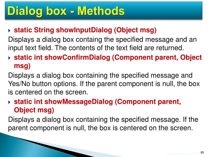 Dialog box - Methods