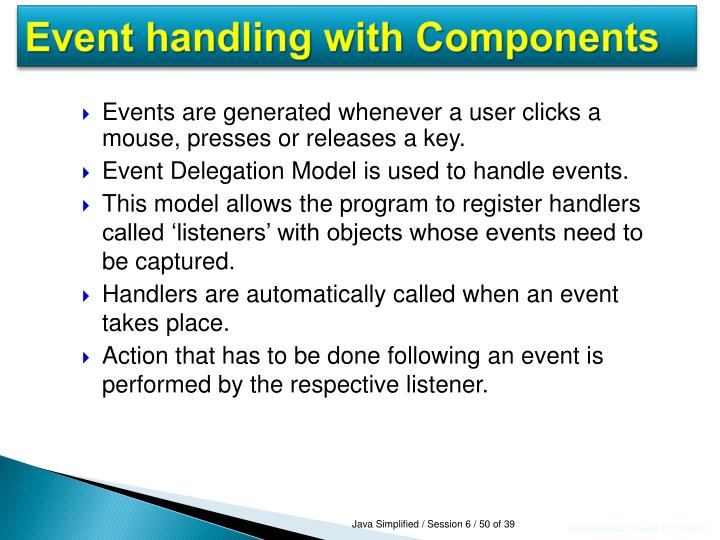 Event handling with Components