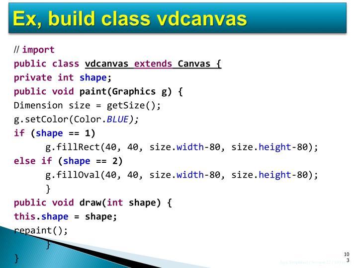 Ex, build class vdcanvas