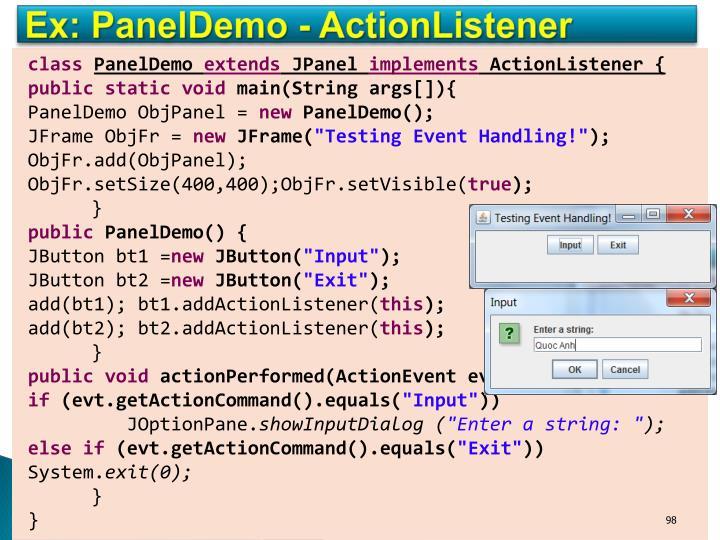Ex: PanelDemo - ActionListener