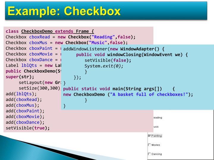 Example: Checkbox