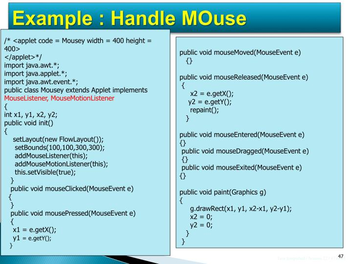 Example : Handle MOuse