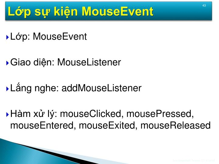 Lớp sự kiện MouseEvent
