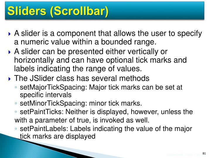 Sliders (Scrollbar)