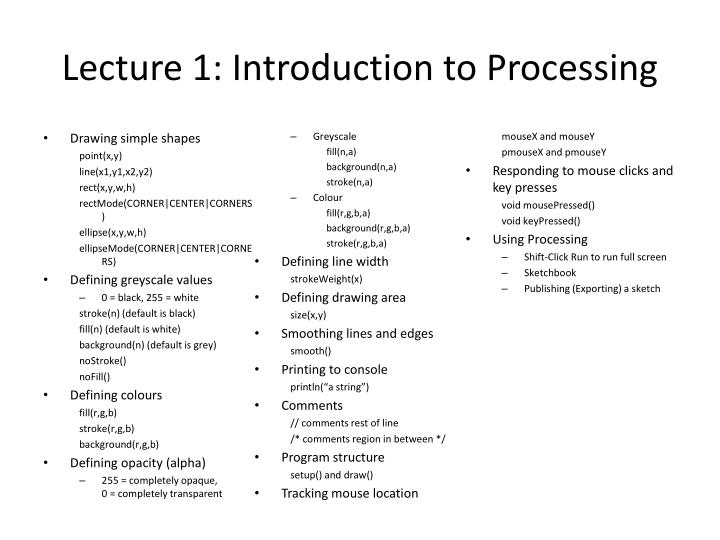 Lecture 1: Introduction to Processing