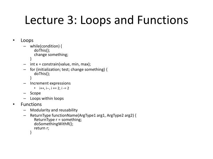 Lecture 3: Loops and Functions