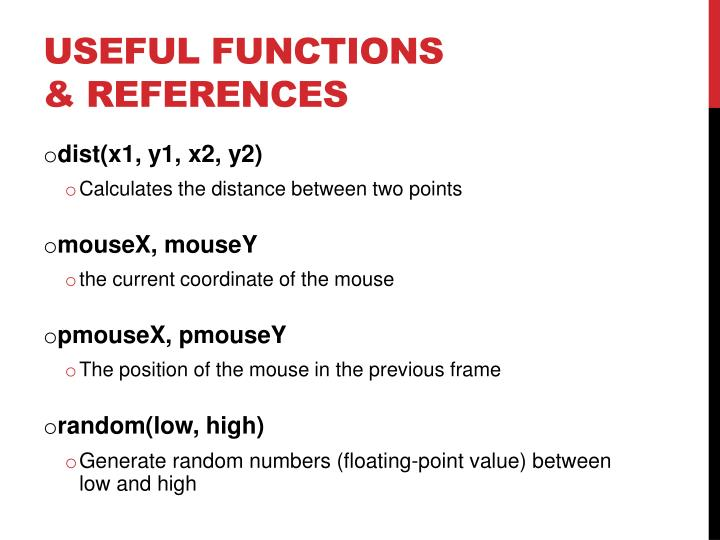 Useful Functions & References