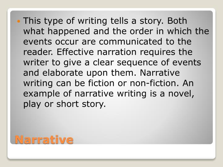 This type of writing tells a story. Both what happened and the order in which the events occur are communicated to the reader. Effective narration requires the writer to give a clear sequence of events and elaborate upon them. Narrative writing can be fiction or non-fiction. An example of narrative writing is a novel, play or short story.