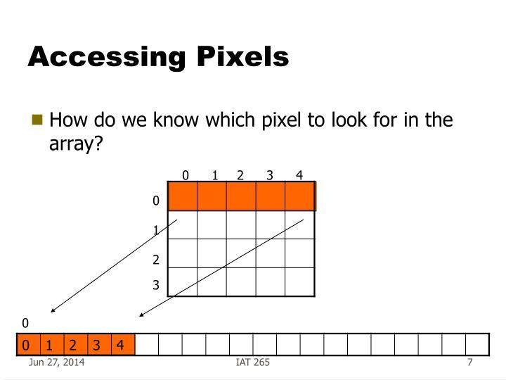 Accessing Pixels
