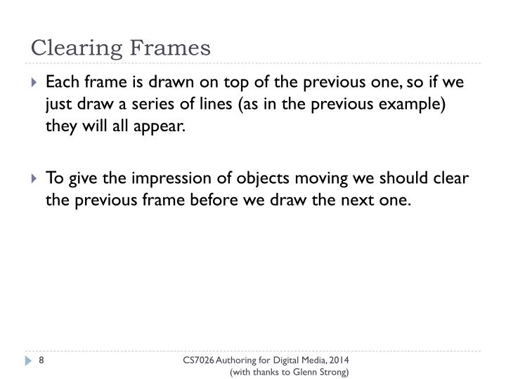 Clearing Frames