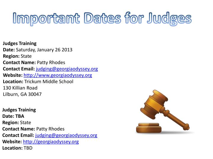 Important Dates for Judges