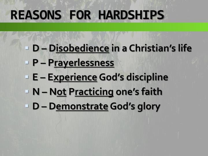 REASONS FOR HARDSHIPS