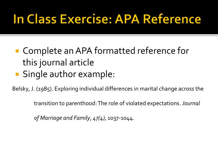In Class Exercise: APA Reference