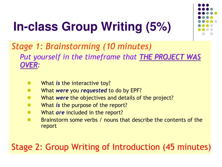 In-class Group Writing (5%)