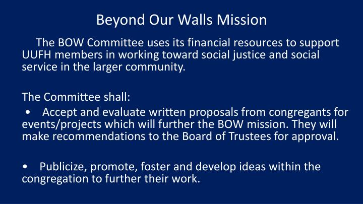 Beyond Our Walls Mission