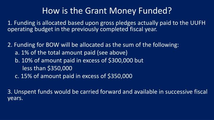 How is the Grant Money Funded?