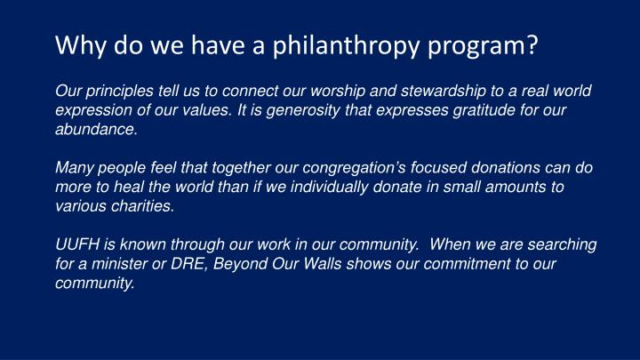 Why do we have a philanthropy program?