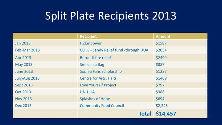 Split Plate Recipients 2013