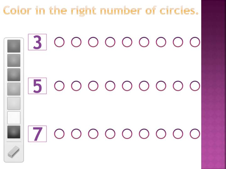 Color in the right number of circles.