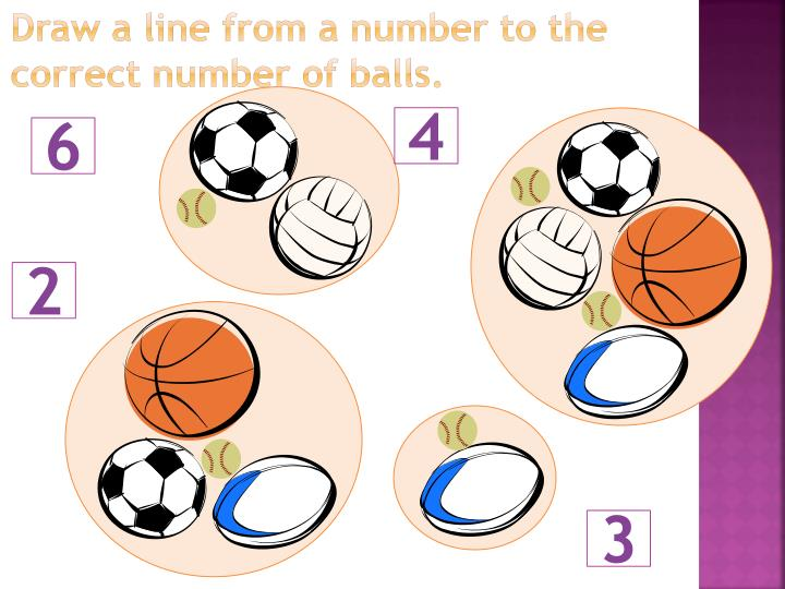 Draw a line from a number to the correct number of balls.