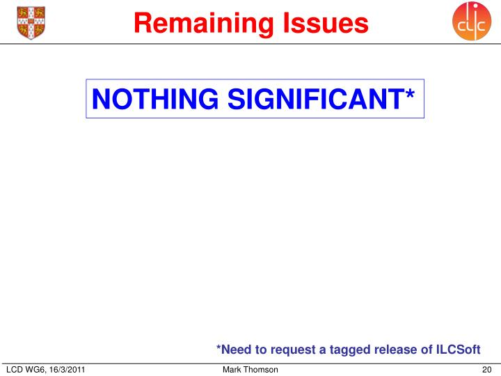 Remaining Issues