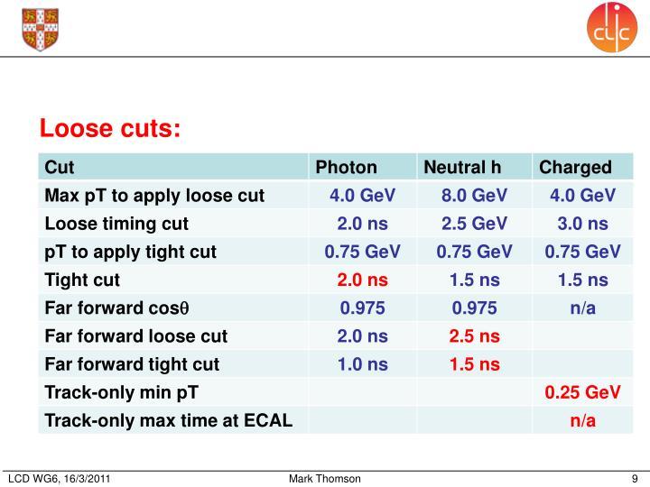 Loose cuts: